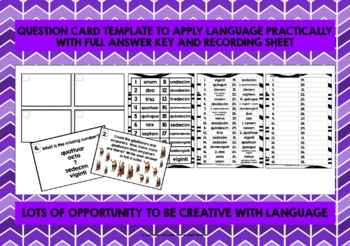 ELEMENTARY LATIN NUMBERS 1-20 TASK CARDS
