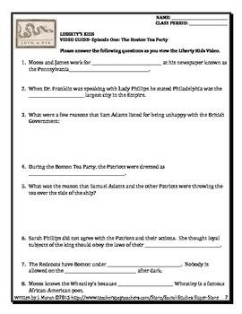 Common Core:Liberty's Kids Video Guide #1- The Boston Tea Party
