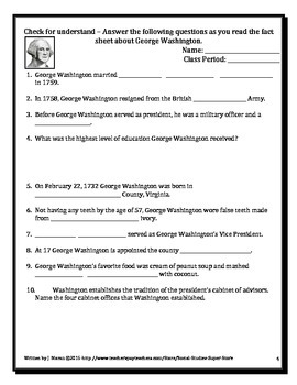 ELEMENTARY- Presidential Profiles: George Washington AND FREE map activity