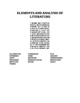 ELEMENTS AND ANALYSIS OF LITERATURE WORD SEARCH