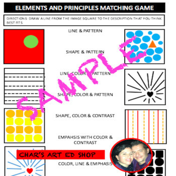 ELEMENTS AND PRINCIPLES MATCHING GAME