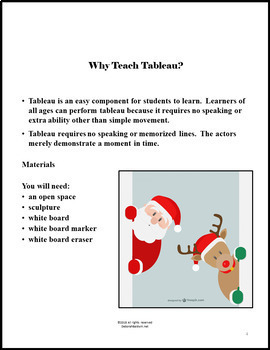 DRAMA LESSON: TABLEAU EXERCISES HOLIDAY THEME