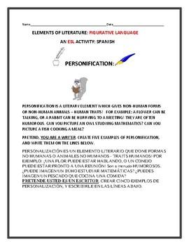 ELEMENTS OF LITERATURE: PERSONIFICATION: ESL: SPANISH
