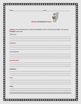 ELEMENTS OF LITERATURE PROJECT, GRADES 4-8