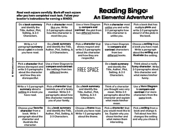 Jubilee's Junction - Literature Elements Bingo Sheet *UPDATED*