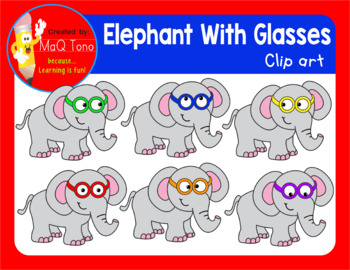 ELEPHANT WITH GLASSES CLIPART