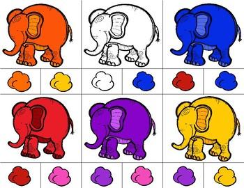 ELEPHANTS Color Match Clip It {A Beginning Work Task)