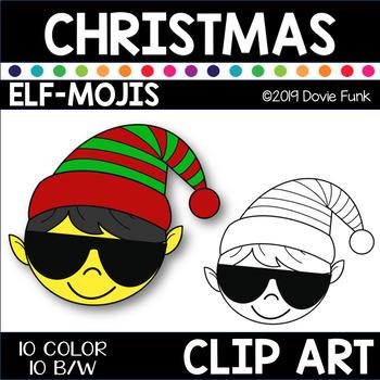 ELF-MOJIS CHRISTMAS Clip Art