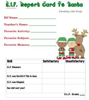 E.L.F. Report Card to Santa - Boy