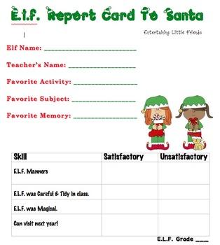 E.L.F. Report Card to Santa - Girl