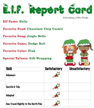 E.L.F. Report Card - Girl