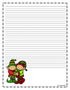 ELF  Writing Paper - Lined Paper - Elf Theme