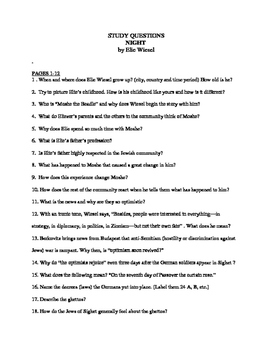 ELIE WIESEL NIGHT 148 COMPREHENSIVE STUDY QUESTIONS