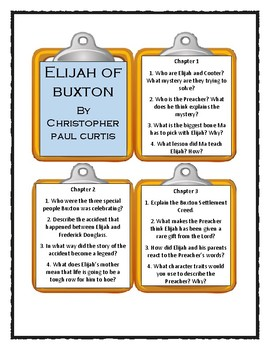 ELIJAH OF BUXTON by Christopher Paul Curtis - Discussion Cards
