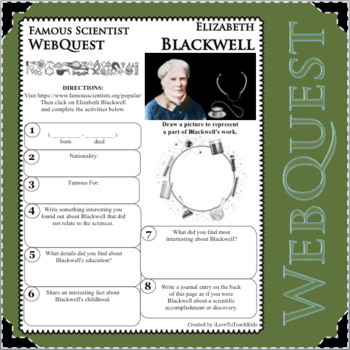 ELIZABETH BLACKWELL Science WebQuest Scientist Research Project Biography Notes