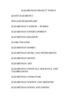 ELIZABETHAN PROJECT TOPICS