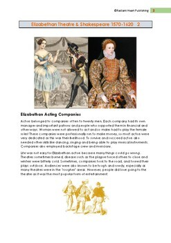 ELIZABETHAN THEATRE ENGLAND READING & QUESTIONS