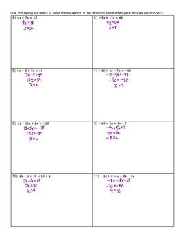 ELL Algebra 1 - Combining Like Terms