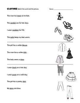 ELL CLOTHES Vocab by JennyG