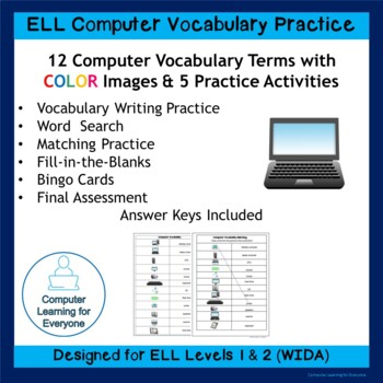 ELL Computer Vocabulary Worksheets with COLOR Images
