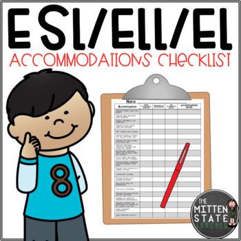 ELL / ESL Accommodation Checklist EDITABLE  {English Language Learners}