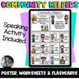 ELL/ESL Community Helpers- Poster, Flashcards & Worksheets