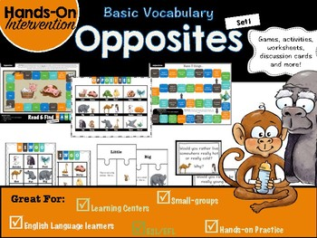 ELL / ESL Hands-on Intervention: Opposites (set 1)