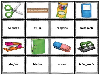 ELL / ESL Hands-on Intervention: School Supplies