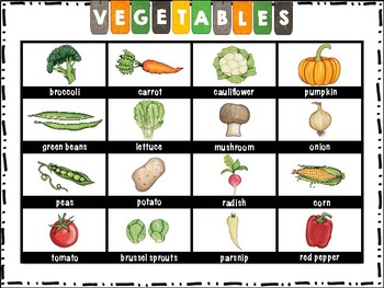 ELL / ESL Hands-on Intervention: Vegetables
