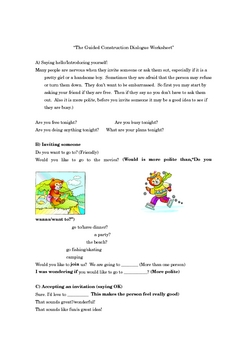 """ELL-ESL Invitations Role-play, """"Guided Dialogue Construction."""""""