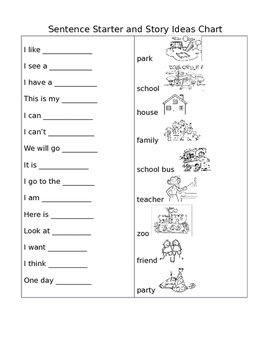 ELL/ESL and Primary Writing Sentence Starters Chart