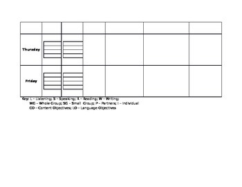 ELL Lesson Plan Template