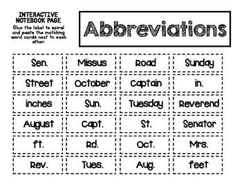 ELA Mini Lesson - Abbreviations