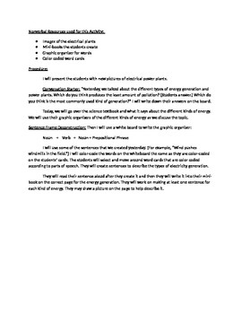 ELL Mini-Lesson for Science Writing Sentences about Electricity