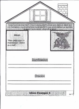 "ELL (Spanish Version) ""House of Idioms"" Flip-book"""