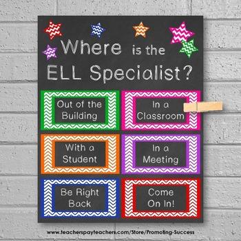 ELL Specialist Gift Idea, ESL Teacher Resources, Back to School Decor Door Sign