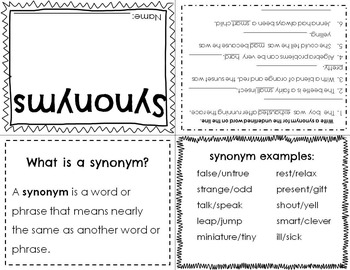 ELL Synonym Activity Pack