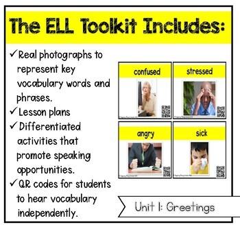 ELL Vocabulary Flashcards: Unit 1, Greetings {for English Survival Skills}