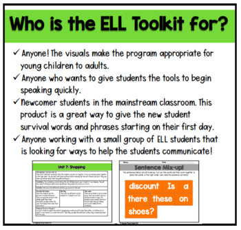 ELL Vocabulary Flashcards: Unit 7,Shopping {For English Survival Skills}