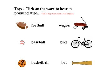 ELL Vocabulary Activities - Toys