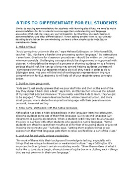 ELL differentiation tips