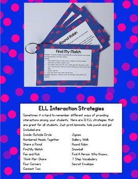 ESL Strategies to use with ELL Activities! Great for ESL Learners & ELL Resource