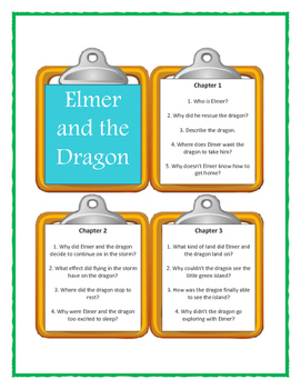 ELMER AND THE DRAGON Ruth Stiles Gannett - Discussion Cards