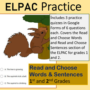 ELPAC 1st & 2nd Grade Choose a Word & Sentences for Google Forms