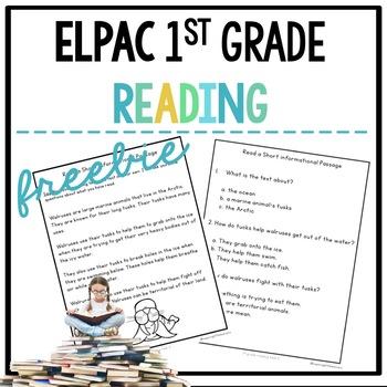 ELPAC 1st grade Reading Practice Freebie