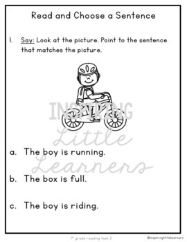 ELPAC Reading Practice Questions for 1st graders