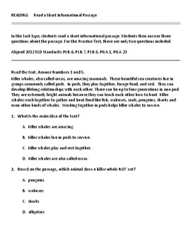 ELPAC Reading Test Prep for Grades 3-5 Sample