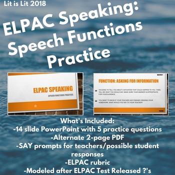 ELPAC Speaking: Speech Functions