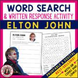 ELTON JOHN Word Search and Research Activity for Middle Sc