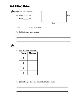 EM4/Everyday Math; Grade 4 - Unit 2 Study Guide: Multiplication and Geometry